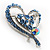 Blue Crystal Heart Brooch - view 5