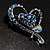 Blue Crystal Heart Brooch - view 6