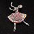Pink Crystal Ballerina Brooch - view 2