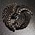 Vintage Black Bow Crystal Brooch - view 2