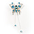 Blue Crystal Butterfly With Dangling Tail Brooch - view 3