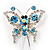 Blue Crystal Butterfly With Dangling Tail Brooch - view 2