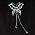 Blue Crystal Butterfly With Dangling Tail Brooch - view 6