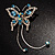 Blue Crystal Butterfly With Dangling Tail Brooch - view 7