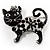 Black Crystal Enamel Cat Brooch
