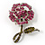 Pink Crystal Rose Brooch
