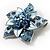 3D Enamel Crystal Flower Brooch (Blue&Sky Blue) - view 7