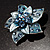3D Enamel Crystal Flower Brooch (Blue&Sky Blue) - view 4