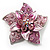3D Enamel Crystal Flower Brooch (Pink) - view 1