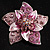 3D Enamel Crystal Flower Brooch (Pink) - view 2
