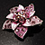 3D Enamel Crystal Flower Brooch (Pink) - view 4