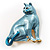 Blue Enamel Cat Brooch