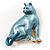 Blue Enamel Cat Brooch