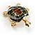 Small Enamel Crystal Turtle Brooch (Green&Brown) - view 3
