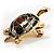 Small Enamel Crystal Turtle Brooch (Green&Brown) - view 7