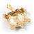 Small Enamel Crystal Turtle Brooch (Green&Brown) - view 6