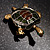 Small Enamel Crystal Turtle Brooch (Green&Brown) - view 5
