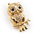 Gold Tone Crystal Owl Brooch - view 7