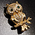 Gold Tone Crystal Owl Brooch - view 5