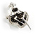 Silver Tone 'Dancing Lady' Crystal Brooch - view 2