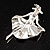 Silver Tone 'Dancing Lady' Crystal Brooch - view 7