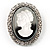 Silver Tone Crystal Glass Cameo Brooch (Black&White) - view 2