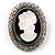 Silver Tone Crystal Glass Cameo Brooch (Black&White)