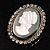 Silver Tone Crystal Glass Cameo Brooch (Black&White) - view 4