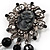 Antique Silver Black Charm Cameo Brooch - view 3