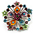 Multicoloured Glittering Diamante Floral Brooch (Silver Tone) - view 2