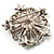 Multicoloured Glittering Diamante Floral Brooch (Silver Tone) - view 4