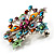 Multicoloured Glittering Diamante Floral Brooch (Silver Tone) - view 5