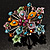 Multicoloured Glittering Diamante Floral Brooch (Silver Tone) - view 6