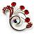 Fancy Red Crystal Brooch (Silver Tone)