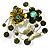 Fancy Butterfly And Flower Brooch (Olive Green) - view 8