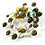 Fancy Butterfly And Flower Brooch (Olive Green) - view 2