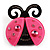 Funky Swarovski Crystal Plastic Lady-Bug Brooch (Black&amp;Deep Pink)