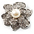 Bridal Faux Pearl Crystal Flower Brooch (Silver-Tone) - view 2