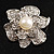 Bridal Faux Pearl Crystal Flower Brooch (Silver-Tone) - view 1