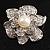 Bridal Faux Pearl Crystal Flower Brooch (Silver-Tone)