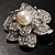 Bridal Faux Pearl Crystal Flower Brooch (Silver-Tone) - view 8