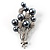 Faux Pearl Floral Brooch (Silver & Black) - view 1
