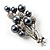 Faux Pearl Floral Brooch (Silver & Black) - view 2