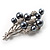 Faux Pearl Floral Brooch (Silver & Black) - view 3