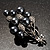 Faux Pearl Floral Brooch (Silver & Black) - view 5