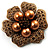 6-Petal Imitation Pearl Floral Brooch (Copper&Gold Brown)