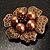 6-Petal Imitation Pearl Floral Brooch (Copper&Gold Brown) - view 2