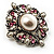 Wedding Corsage Faux Pearl Crystal Brooch (Antique Silver) - view 4