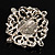 Wedding Corsage Faux Pearl Crystal Brooch (Antique Silver) - view 6