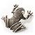 Marcasite Frog Brooch (Antique Silver Tone)